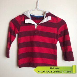 Faded Glory Red Stripe Collared Hoody - Size 4Y